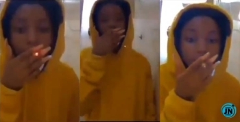 Nigerians react, as 15-year-old girl posts a video of herself smoking weed (VIDEO)